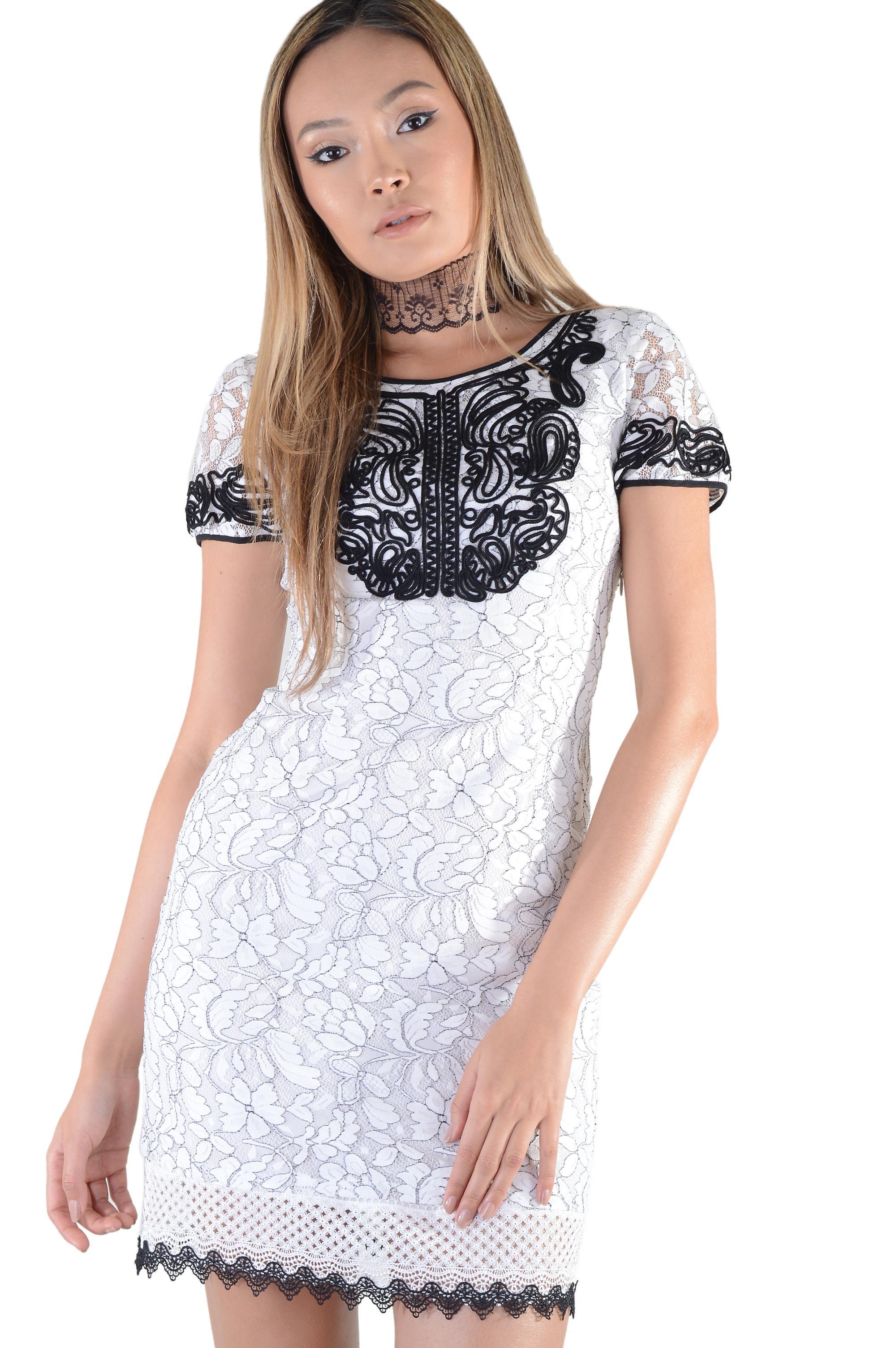 9641948f7c335 LMS Black Piping Detail And Crochet Hem White Lace Dress | Fruugo