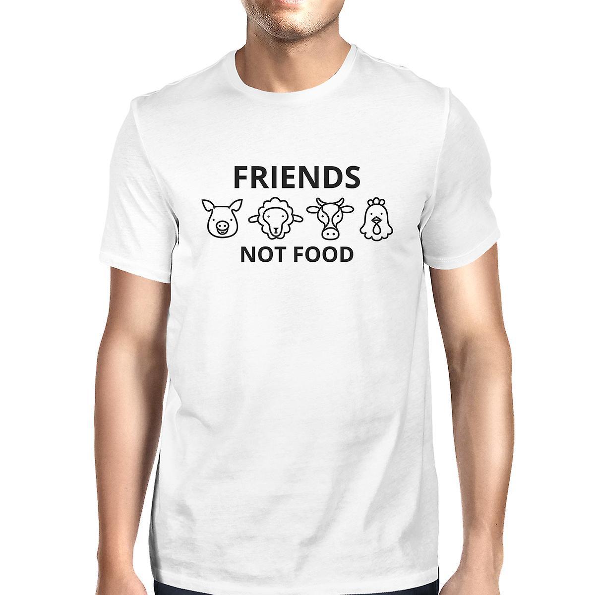 d172e5b3651 Friends Not Food Men s White Trendy Design Graphic Tee For Guys