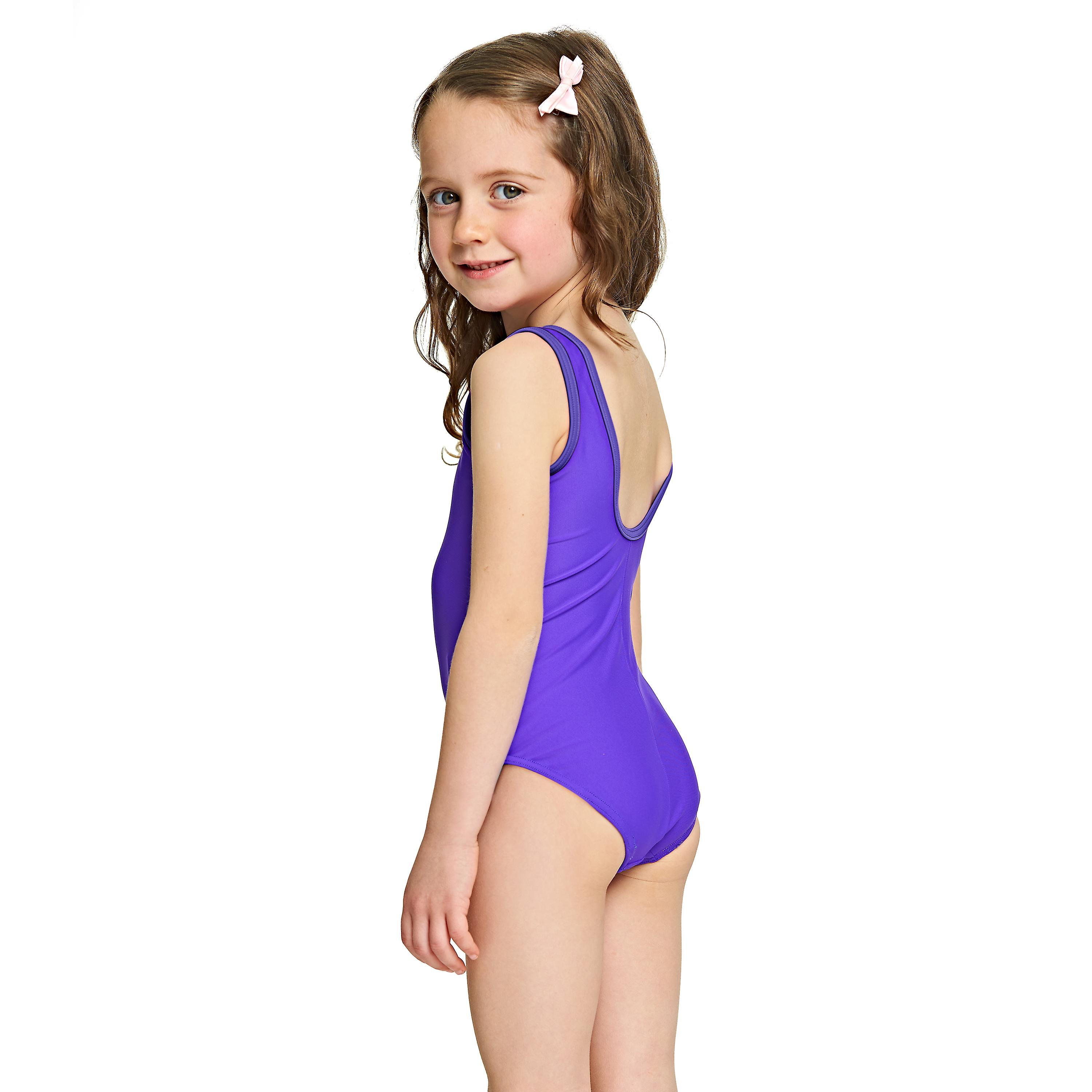 3c3fdf0640 Zoggs Girls Jungle Fun Scoopback Swimsuit Purple for 6-16 Years Old ...