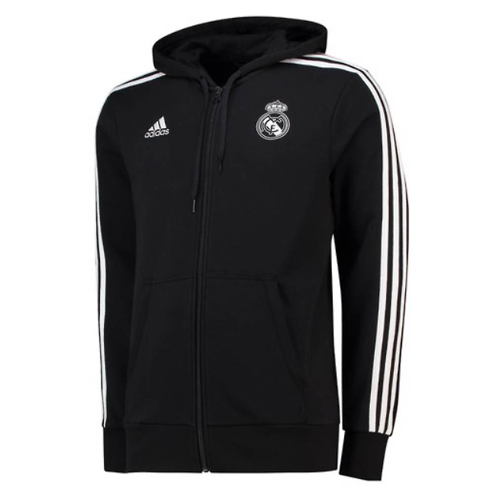 2018 2019 Real Madrid Adidas 3S Hooded Zip (Black)