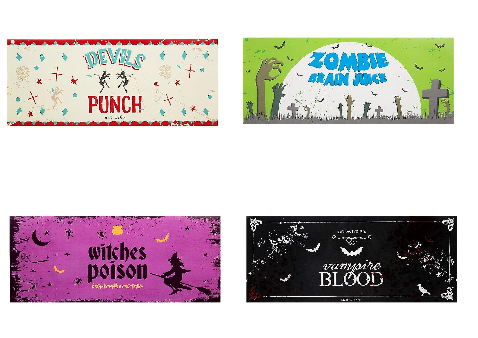 Halloween Drink Bottle Labels Pack of 4 Stickers