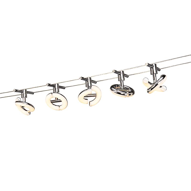 qazqa verlichting kabel systeem tubos 5 led ronde boog chrome