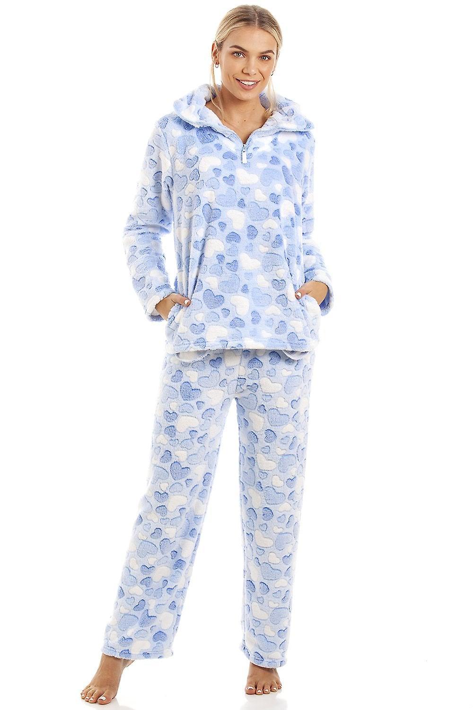 4c798f349b09 Camille Luxurious Supersoft Fleece Light Blue Heart Print Pyjama Set ...