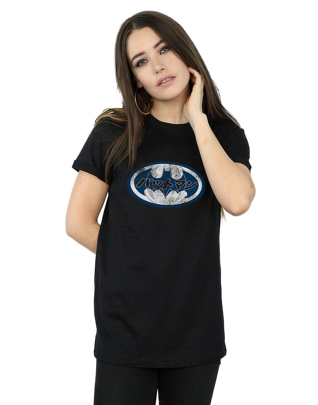 2605260fc DC Comics Women's Batman Japanese Logo White Boyfriend Fit T-Shirt ...