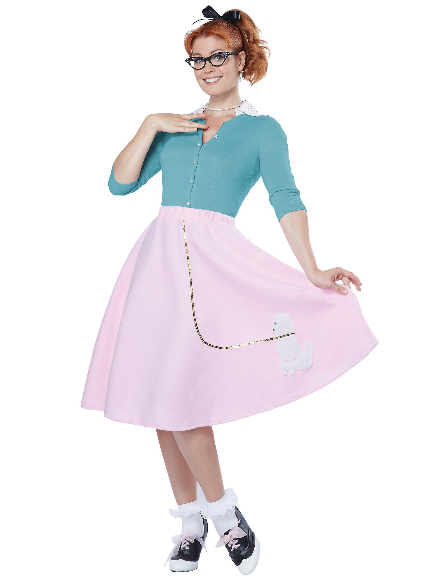0e8a7a5ef715 Poodle Skirt 1950s Pink Sock Hops Hairspray Rock N Roll Womens Costume