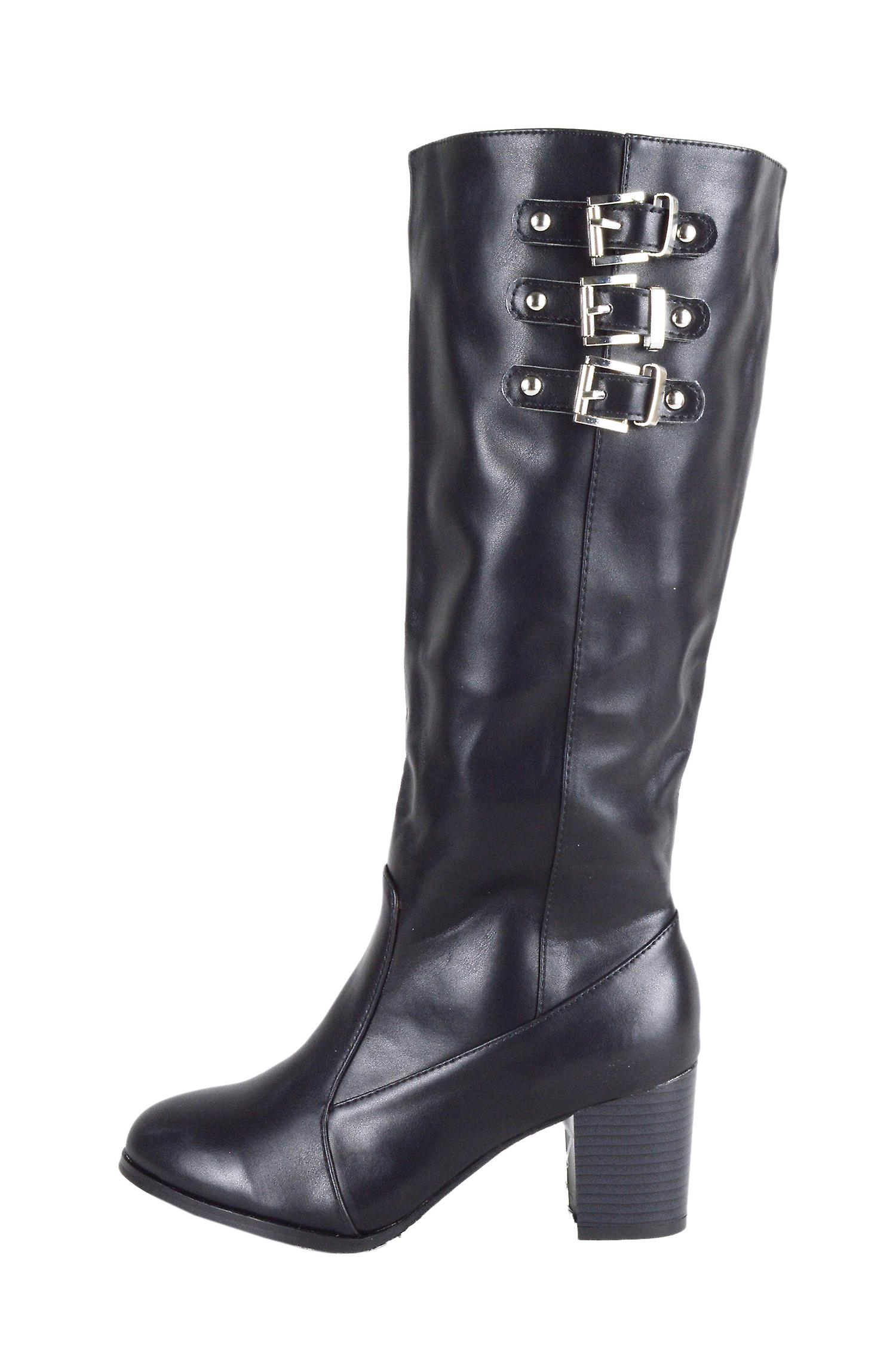 a82bfb42b88 LMS Black Faux Leather Block Heel Knee High Boot With Buckles