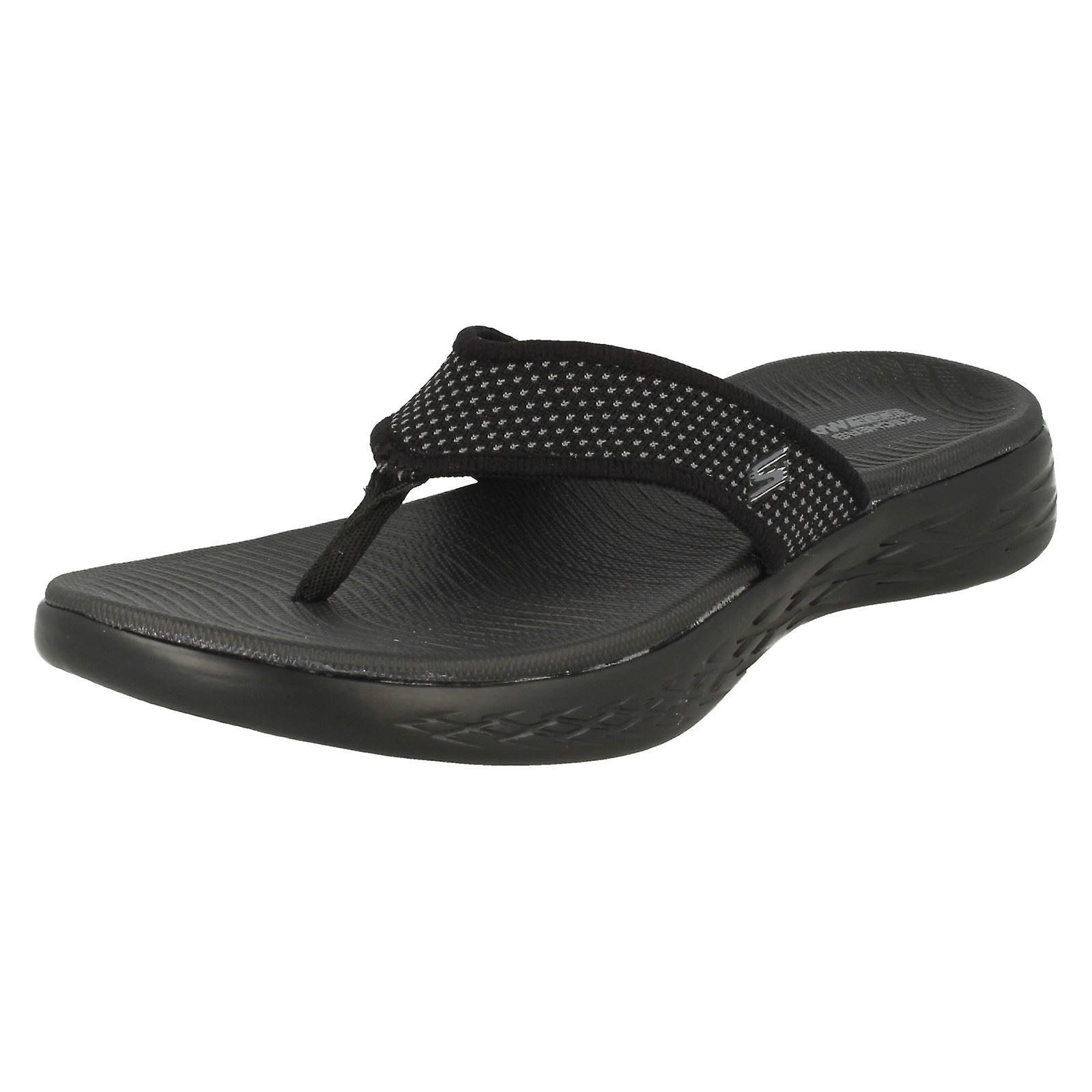 Ladies Skechers Casual Slip On Flip Flops On The Go 600 15300 Black Textile UK Size 3 EU Size 36 US Size 6