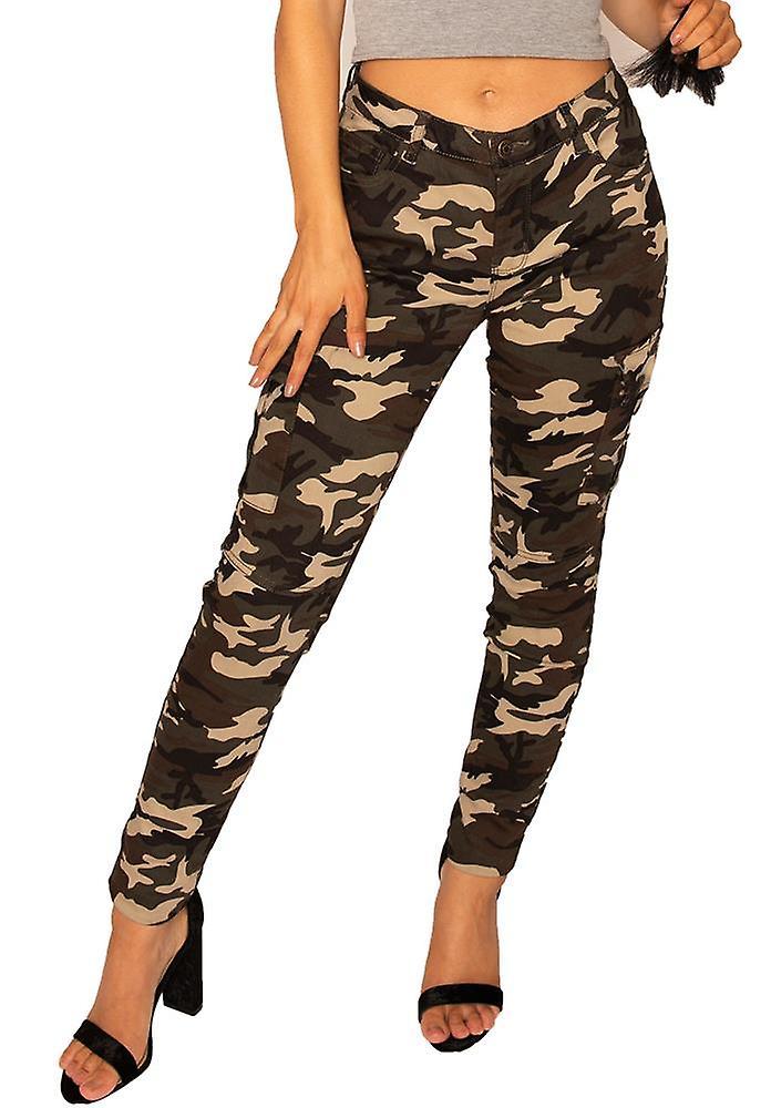 Mørke Camouflage Slim Cargo bukser