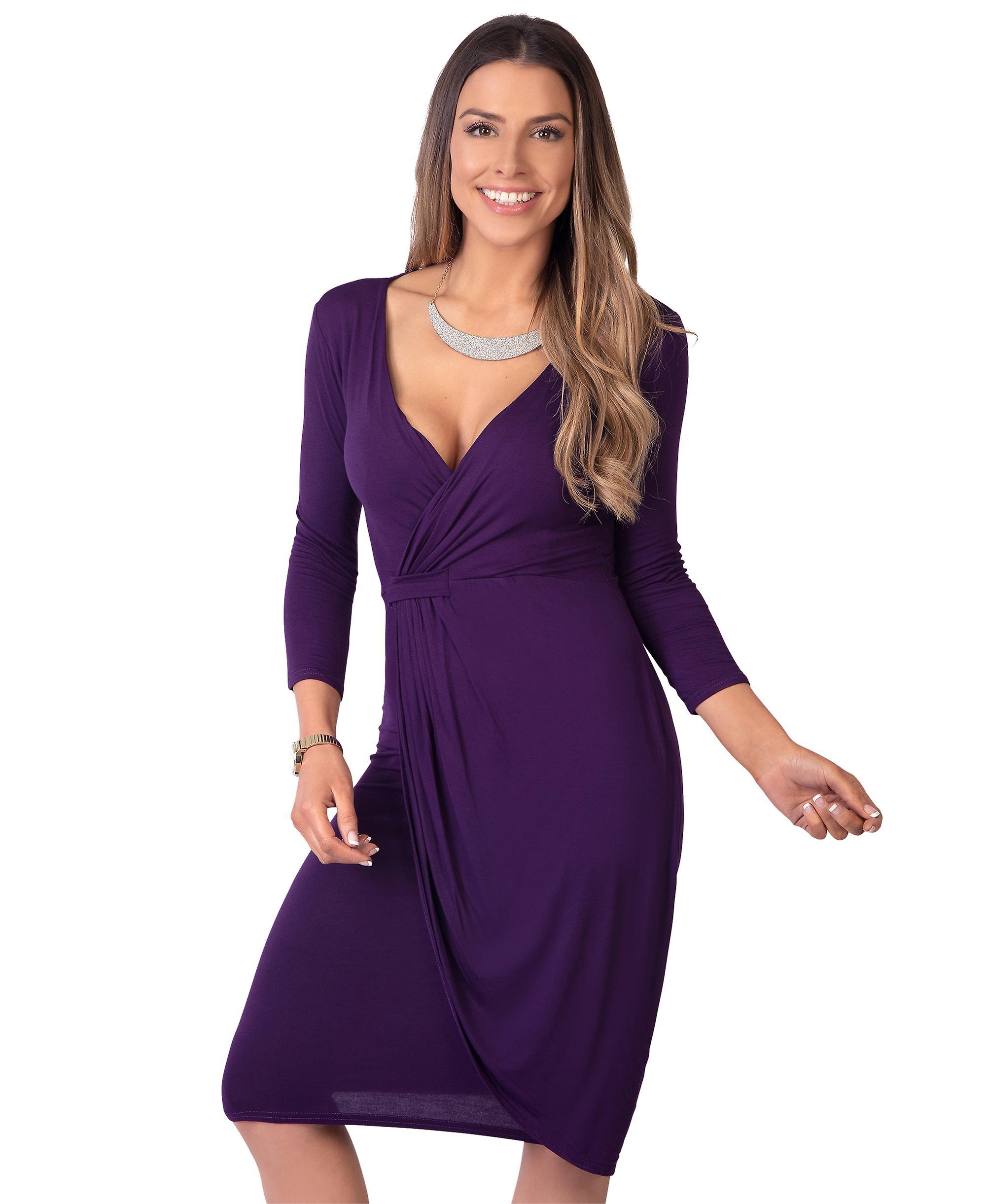 6a978c9390fe LONESJOEDAHL beskedne endnu meget flatterende Wrap omkring Midi kjole