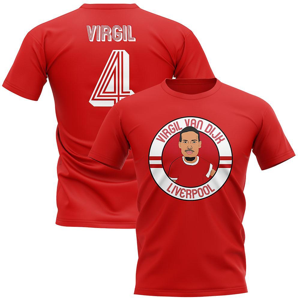 sports shoes 2e7ad 9f4bf Virgil Van Dijk Liverpool Illustration T-Shirt (Red)