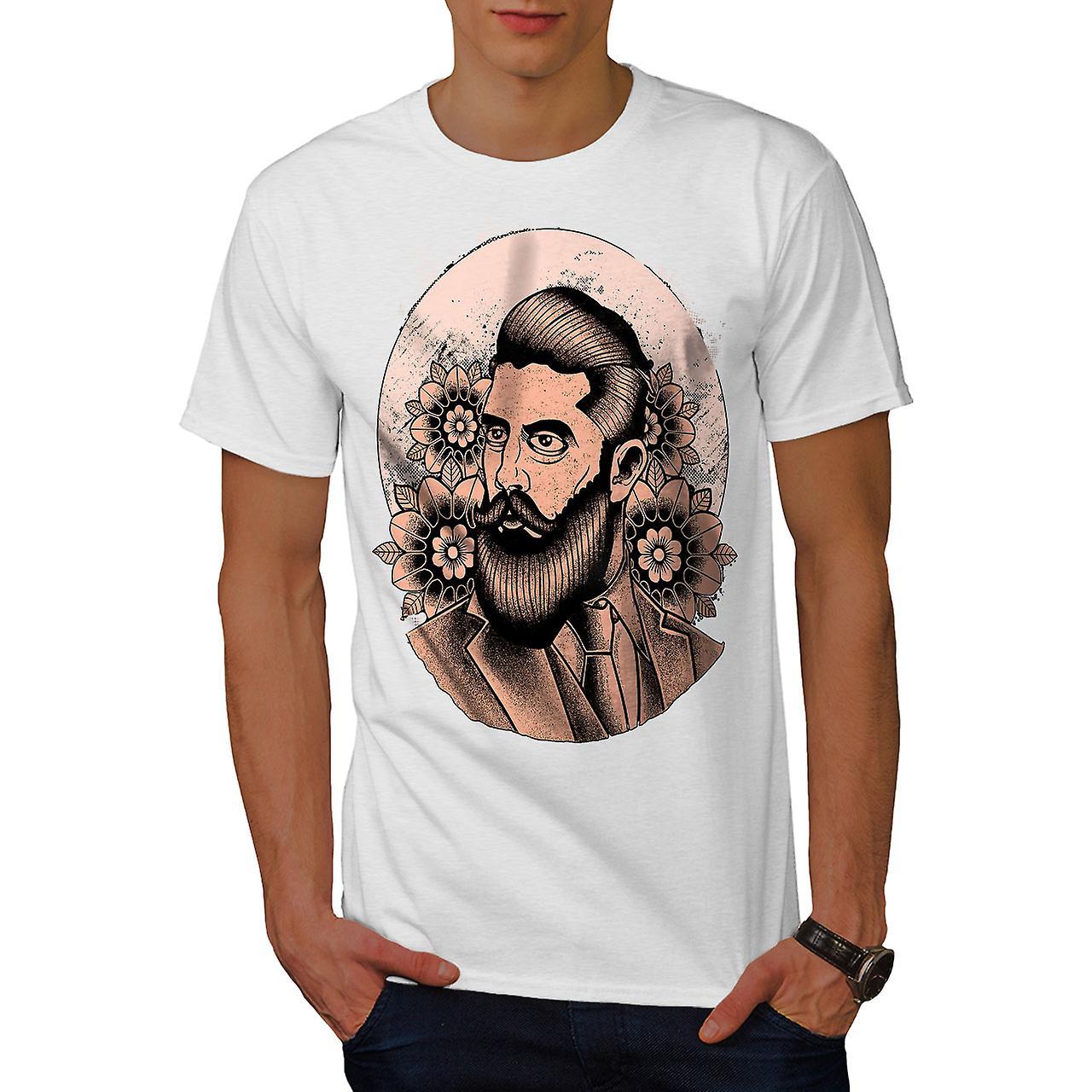 beard hipster vintage men white t shirt wellcoda fruugo. Black Bedroom Furniture Sets. Home Design Ideas
