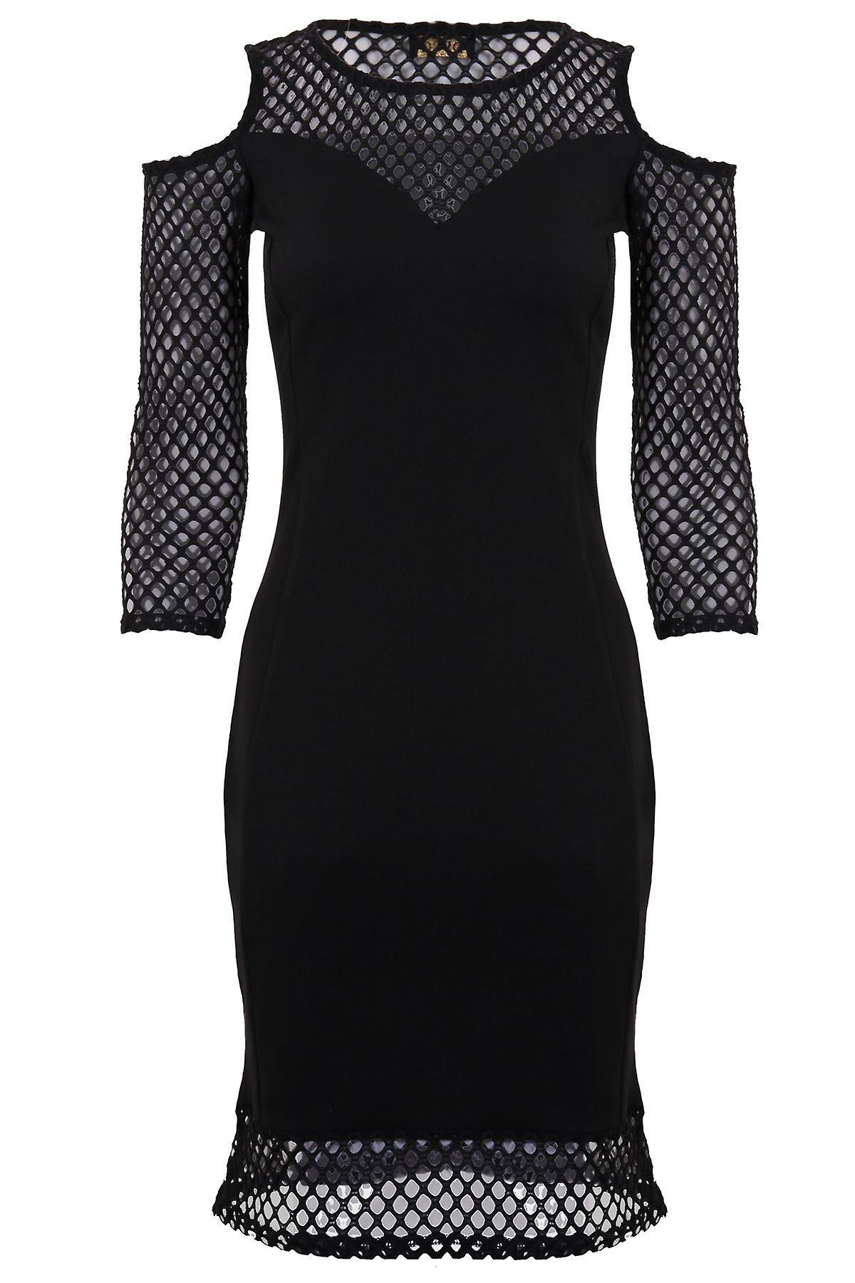 7a3ef7ed91e6 Ladies Long Sleeve Mesh Fishnet V Front Cut Out Cold Shoulder Bodycon Dress