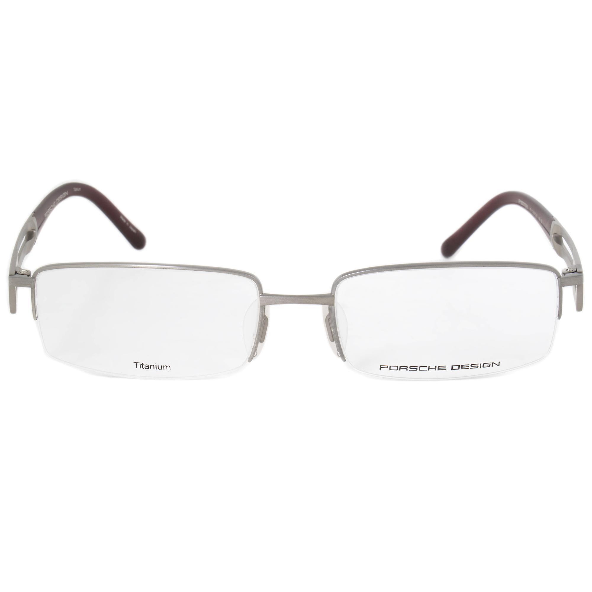 b281f90f9f0 Porsche Source · Porsche Design P8703 C Rectangular Matte Silver Eyeglass  Frames