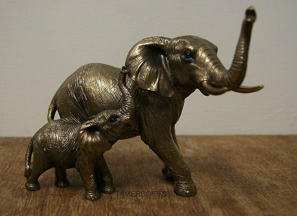 Reflections Bronzed Elephant & Calf Leonardo Collection Ornament Figure