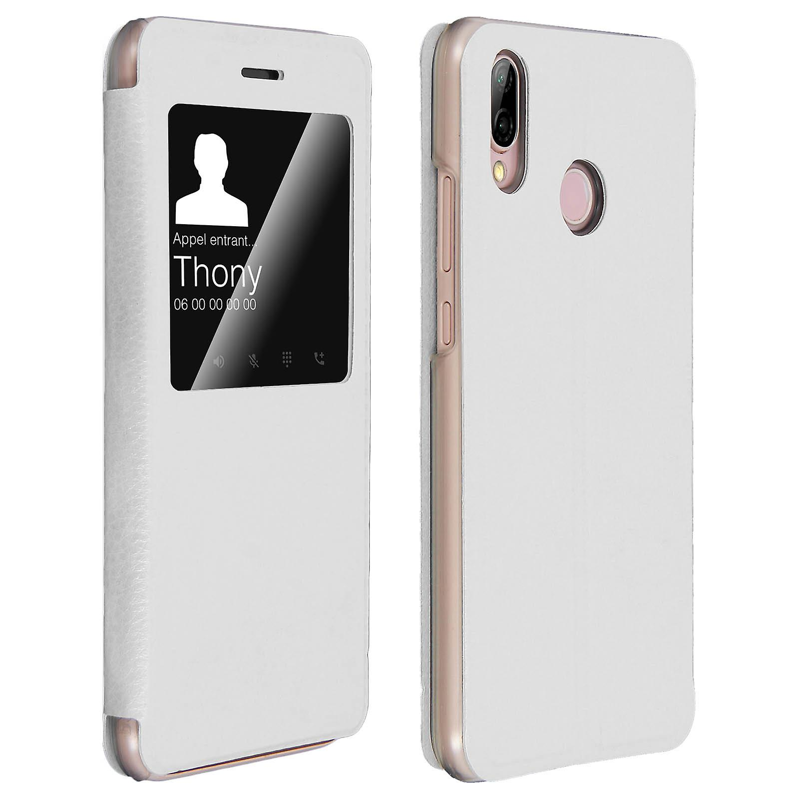 informazioni per ded23 24ec6 Intelligente Ansicht Fenster flip Case für Huawei P20 Lite, schlanke  Abdeckung - weiß