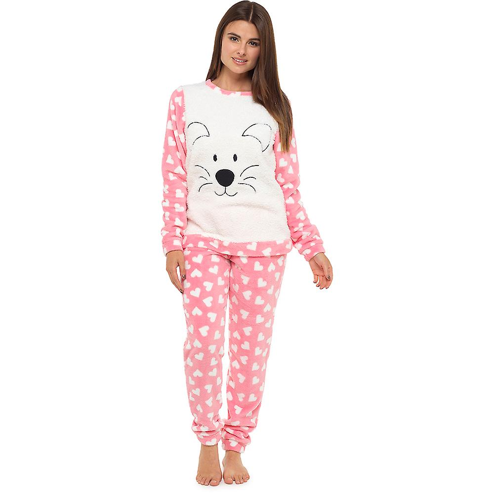 Ladies Tom Franks Thick Animal Embroidered Printed Fleece Long Twosie  Sleepwear e6c51f697