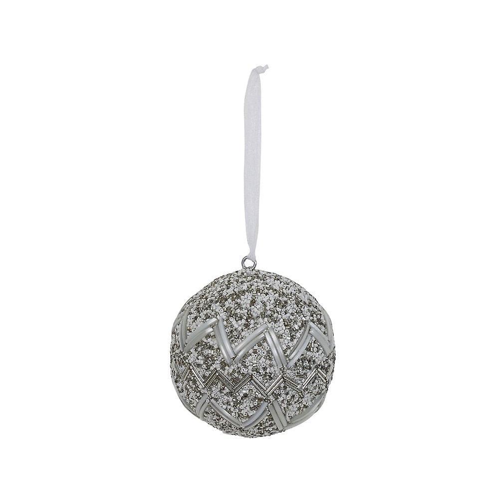 Lys & Levende Christmas Bauble Runde 10cm Vatna Hvit
