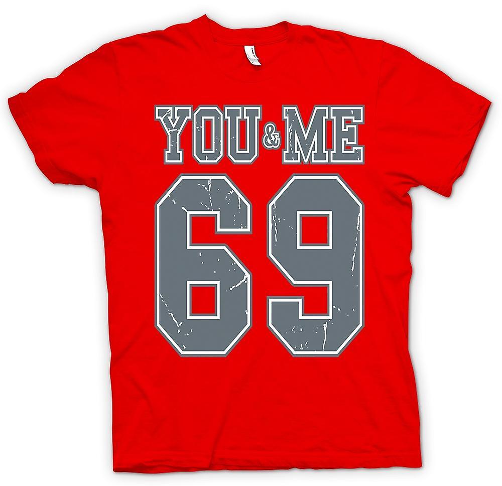 Herre T shirt dig og mig 69 College Football Funny