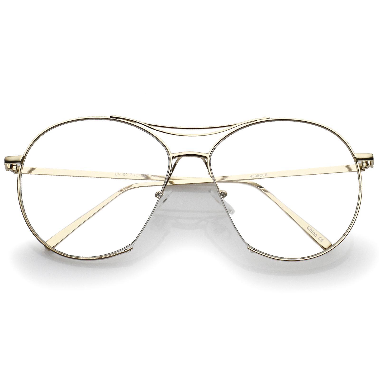 f75134bdc09e Oversize semi-uindfattede pande Bar runde klart flad linse Aviator briller  59 mm