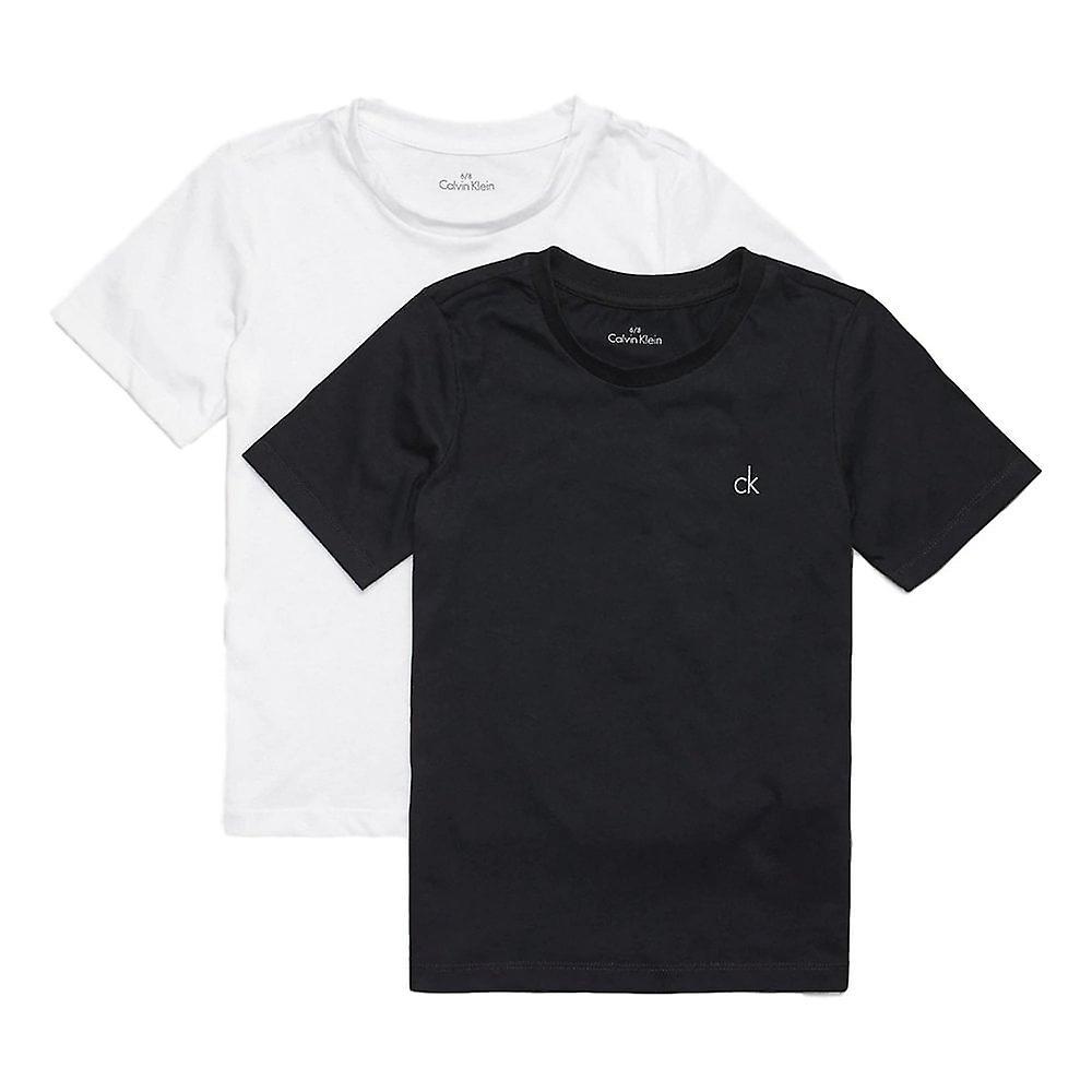 Calvin Klein Boys 2 pakke moderne bomull kort erme t skjorte svart hvit