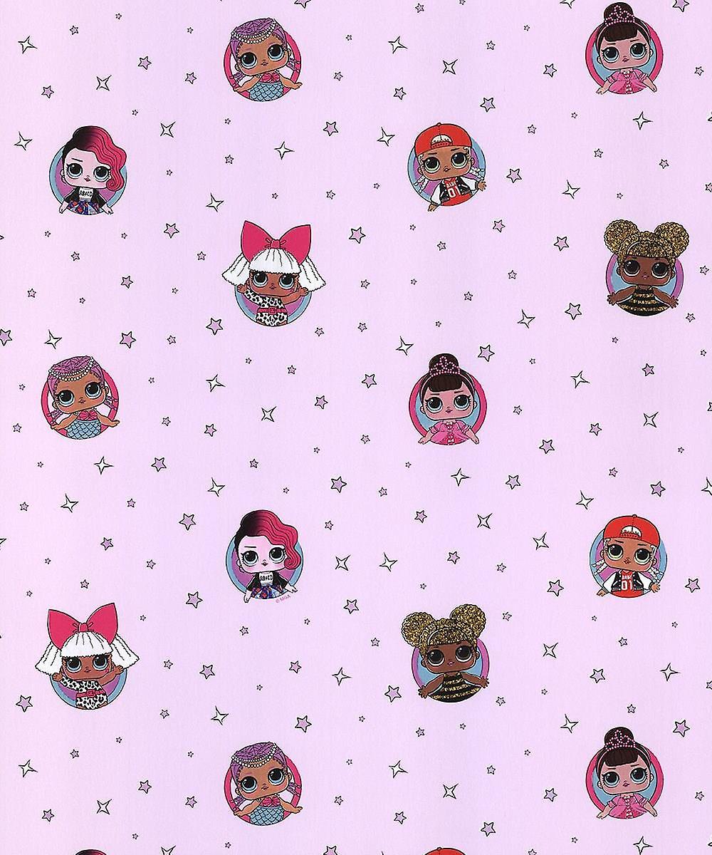Debona Lol Surprise Wallpaper Childrens Kids Girls Bedroom Baby Pink Stars