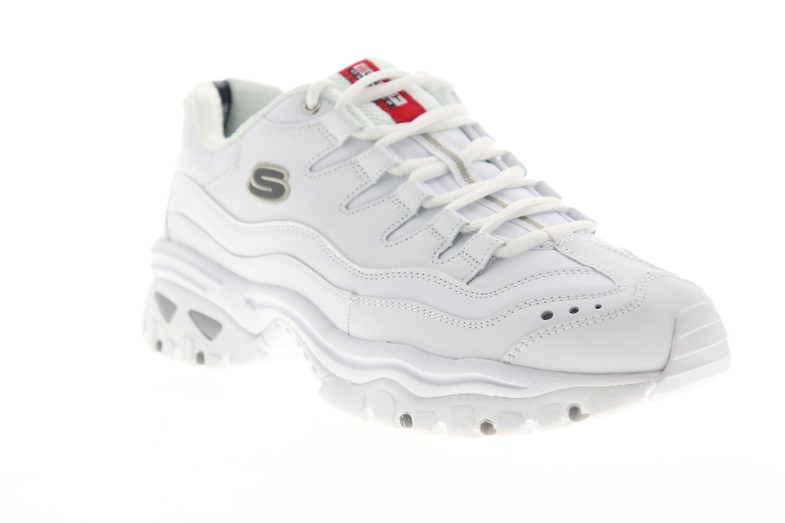 Skechers Energy Brunkz menns hvit skinn lav topp joggesko sko