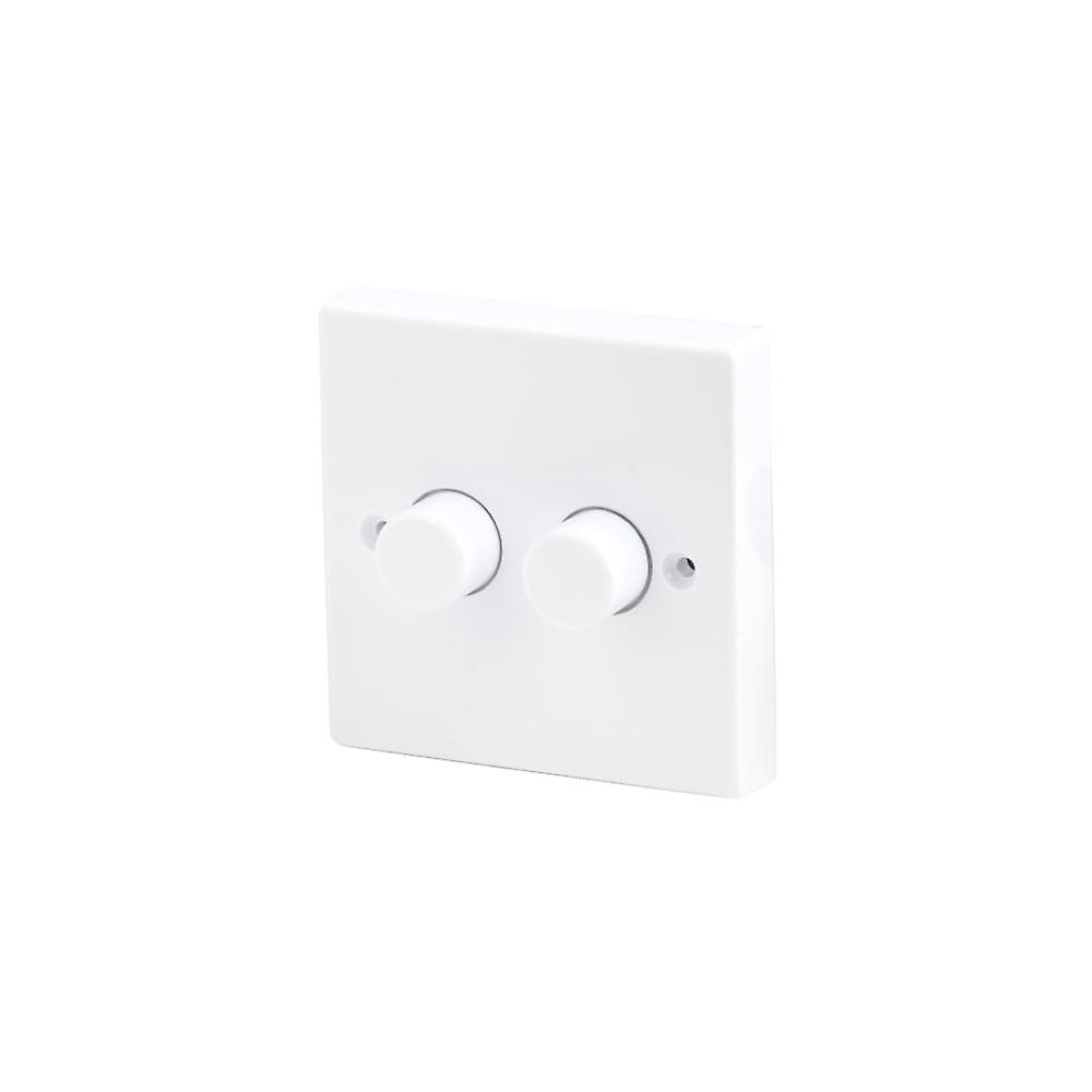 Led Robus 2 Gang Way 250w White Dimmer Switch Fruugo For