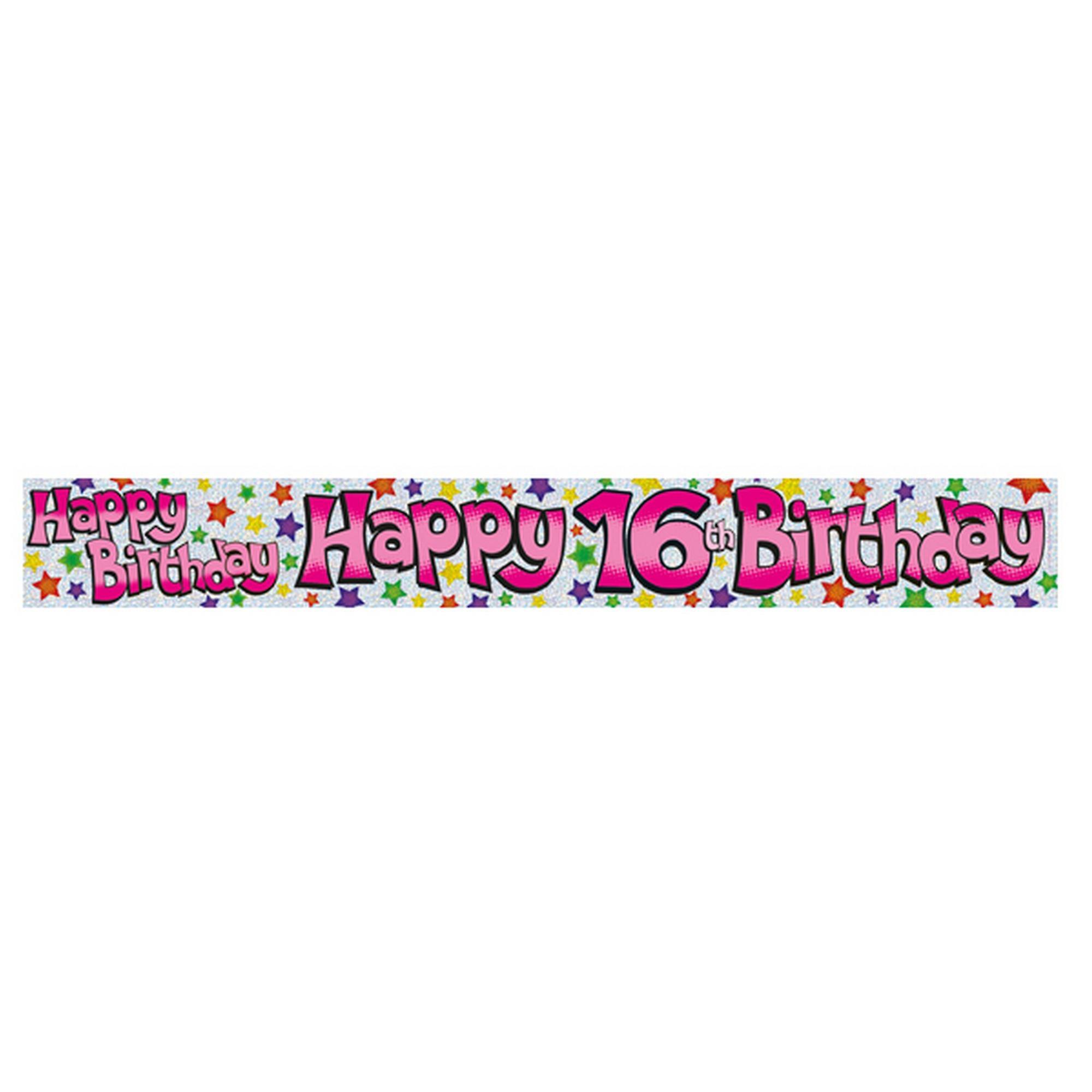 16de Verjaardag.Expressie Fabriek Childrens Meisjes Gelukkig 16de Verjaardag Floret Banner