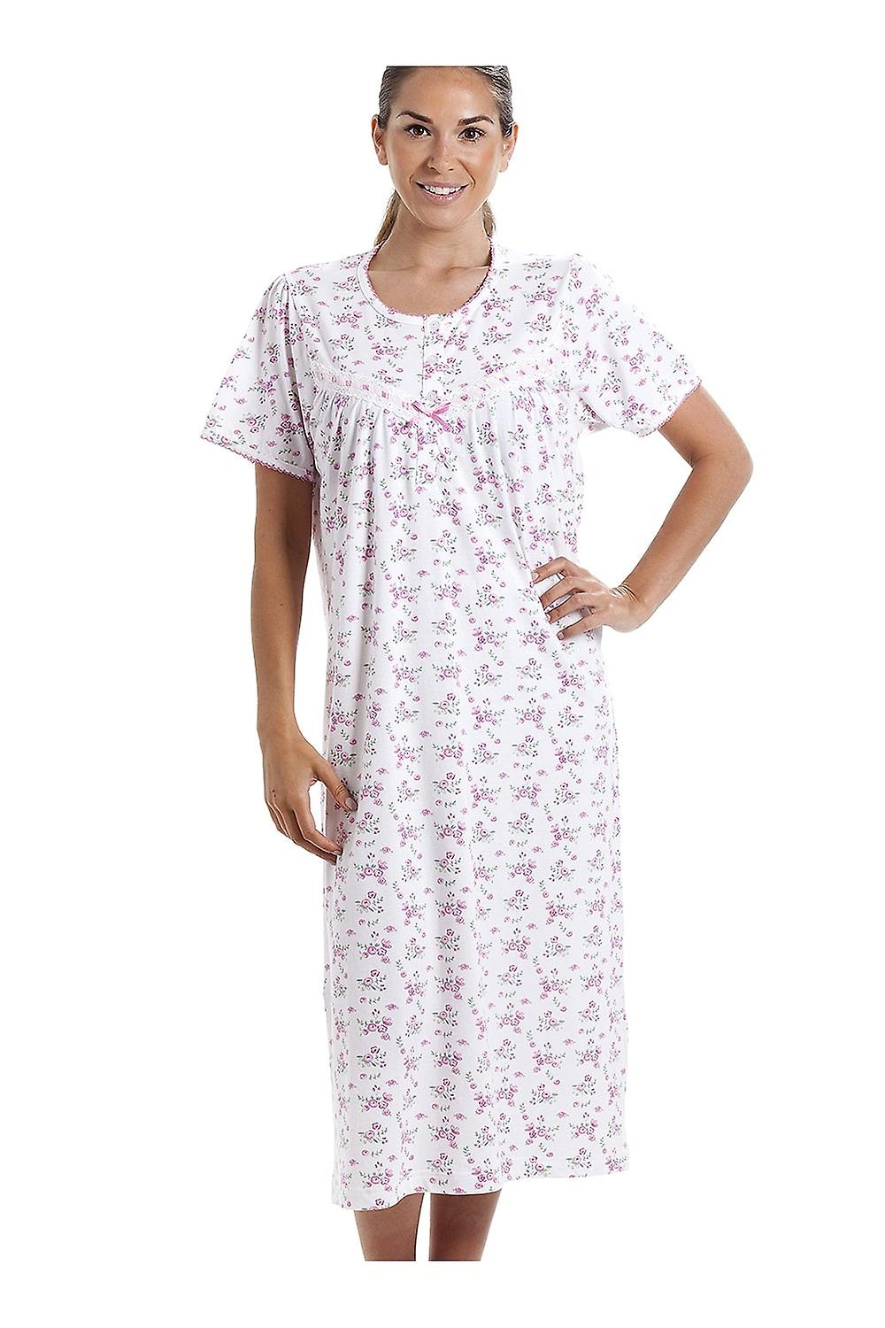 7a4a1ed40d Camille Classic Short Sleeve Pink Floral Print 100% Cotton White Nightdress