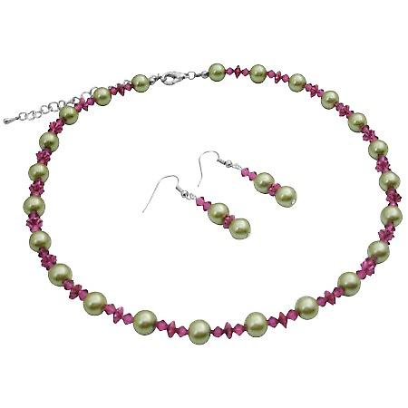 2a1f5bc63 Match Your Dress Combo Lime Green   Fuchsia Crystals Jewelry Set ...