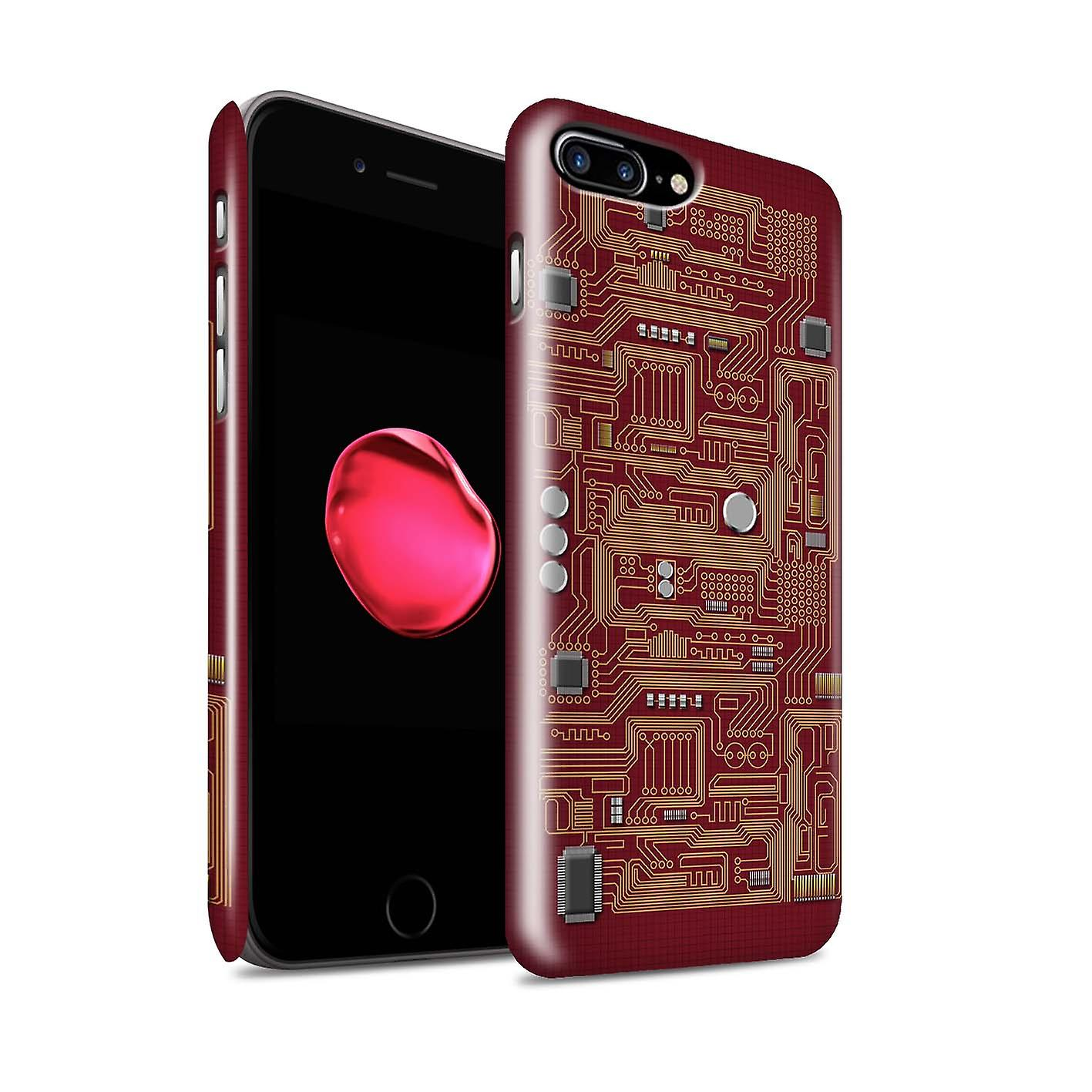 Stuff4 Gloss Hard Back Snap On Phone Case For Apple Iphone 7 Plus Circuit Red