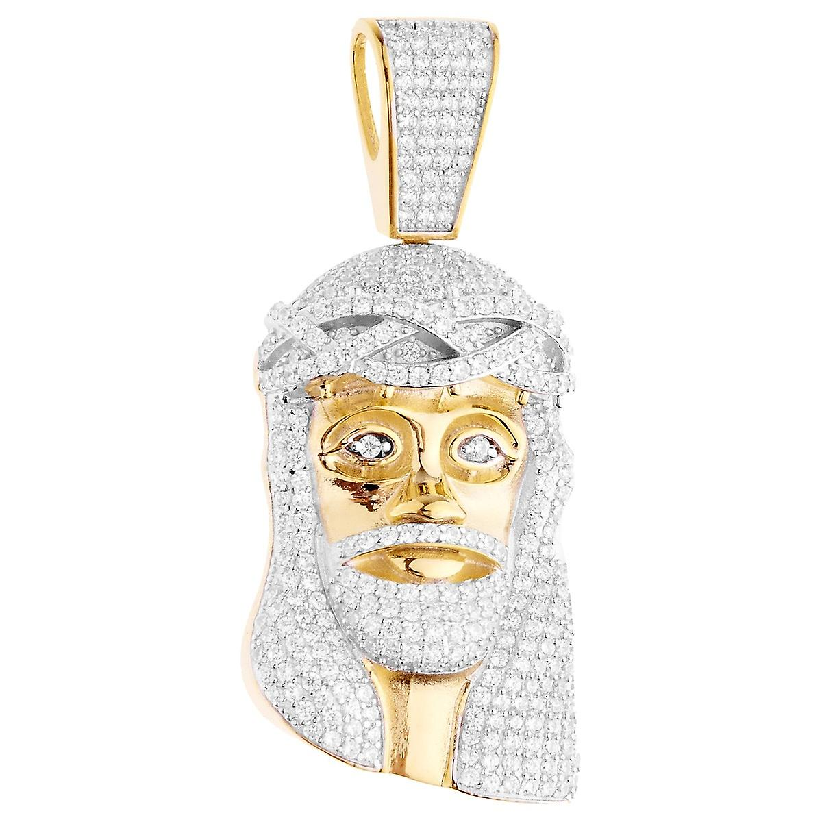 Premium bling 925 sterling silver jesus head pendant gold fruugo premium bling 925 sterling silver jesus head pendant gold aloadofball Image collections