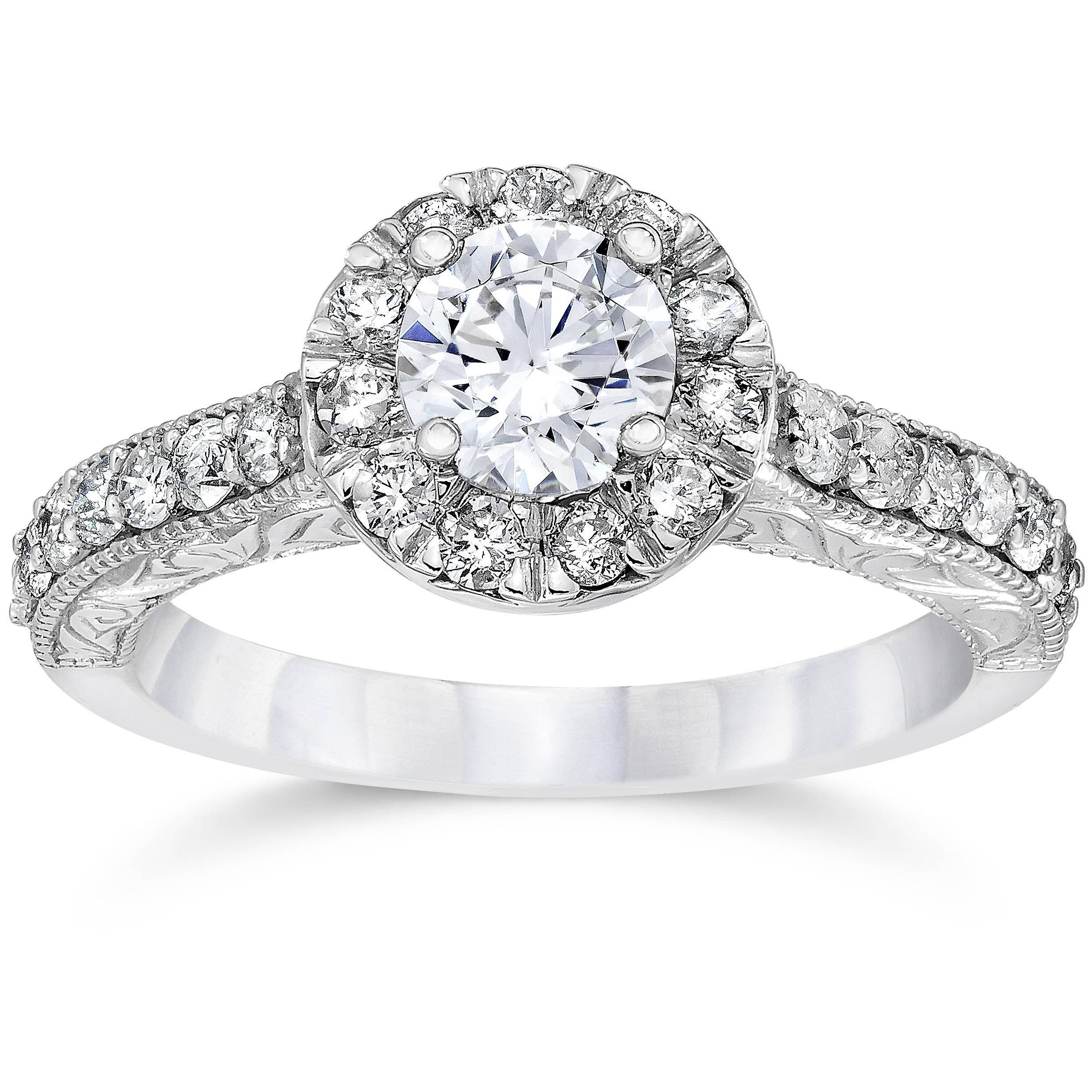 3 4ct Vintage Halo Diament Pierścionek Zaręczynowy 14k Białe Złoto