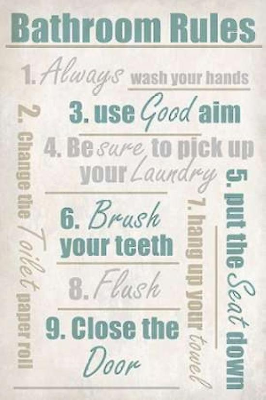 Concrete Bathroom Rules Poster Print by Kimberly Allen