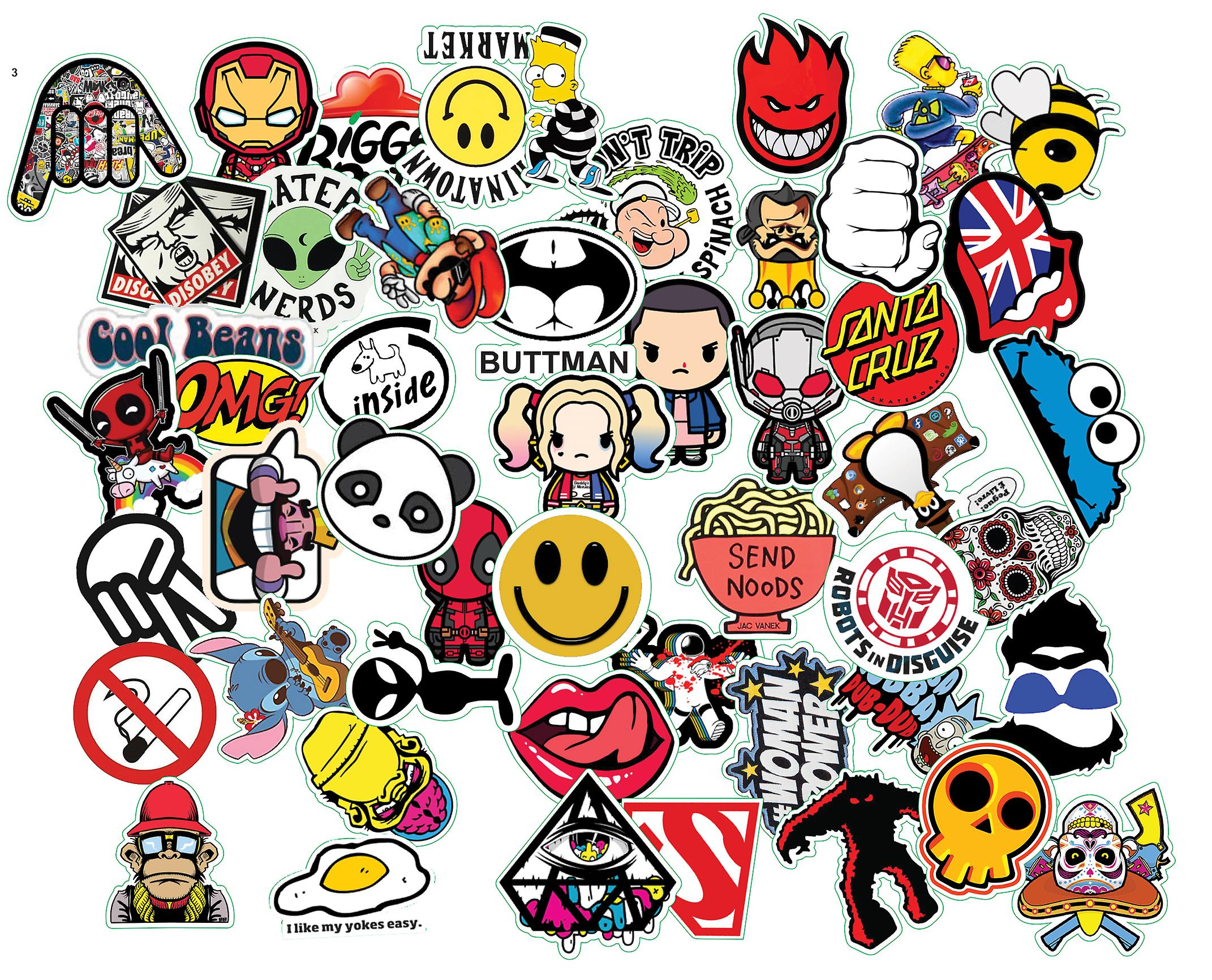 f38d115d00e4a Sticker Bomb Pack Variety Vinyl Car Sticker Motorcycle Bicycle Luggage Decal  Graffiti Patches Skateboard Stickers for