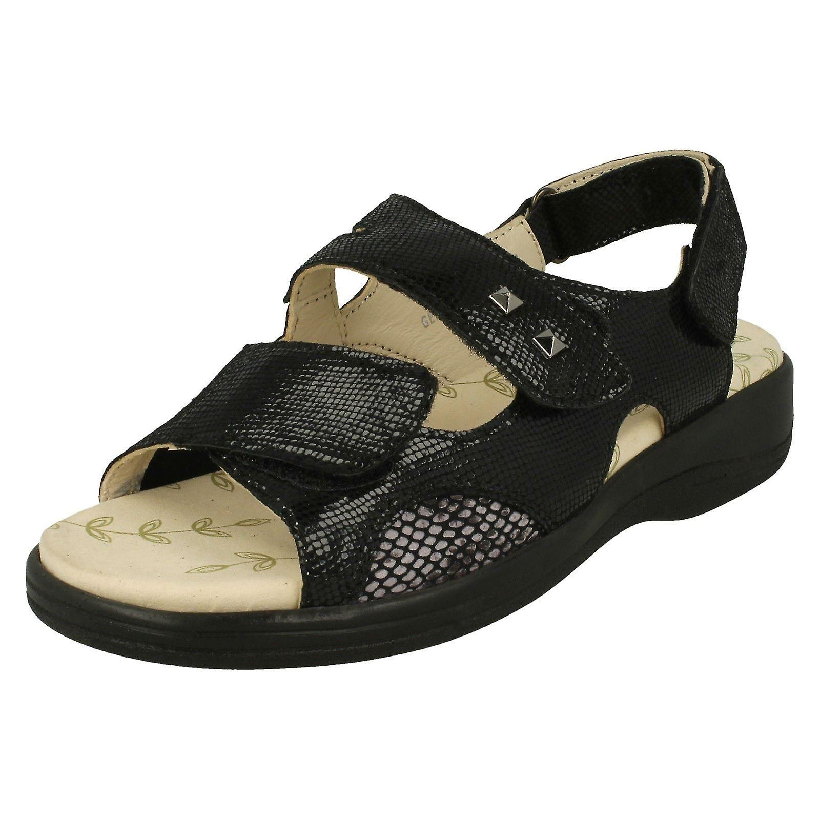 97792de608794 Ladies Padders Hook & Loop Fastening Sandals Gemstone - Black Reptile  Leather - UK Size 4.5