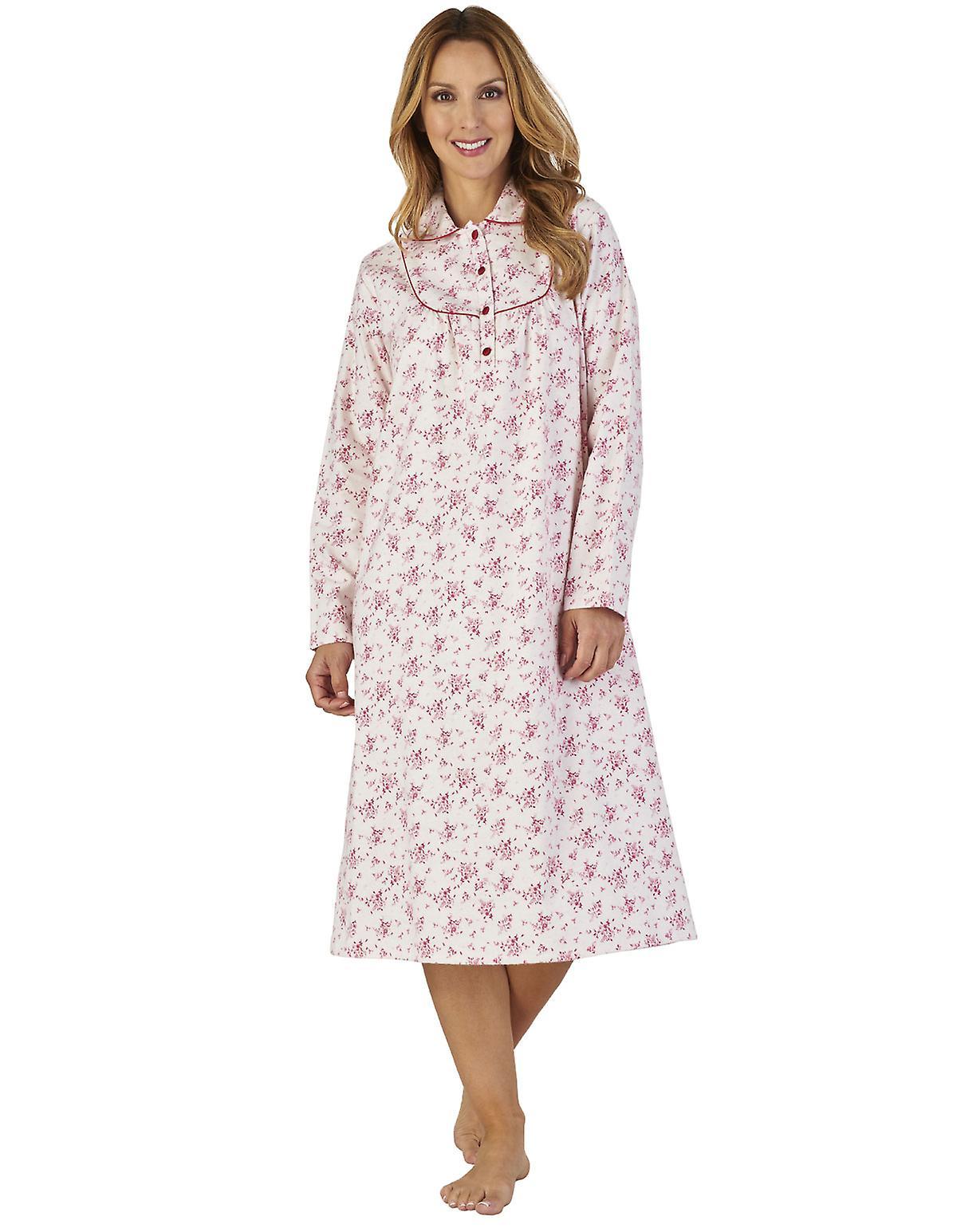 c55aba4a3c Slenderella ND2211 Women s Luxury Flannel Floral Night Gown Loungewear  Nightdress