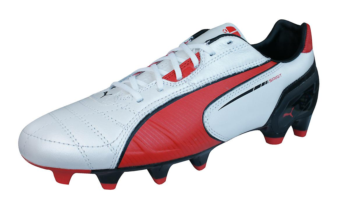 Puma Spirit FG Mens Leather Football Boots   Cleats - White Red Black 014e8507d