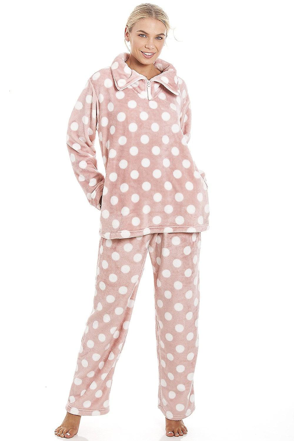 e150e38c4 Camille Pink Supersoft Velour Fleece Polka Dot Pyjama Set