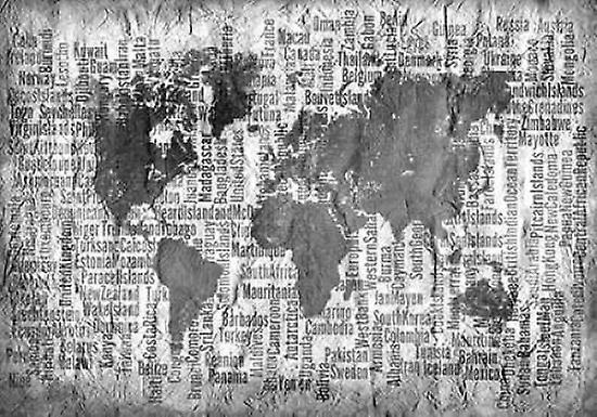 Map of the World Black and White Poster Print by Kimberly Allen
