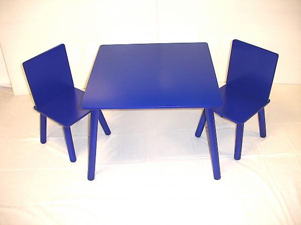 Tre barn bord og 2 stoler satt blå