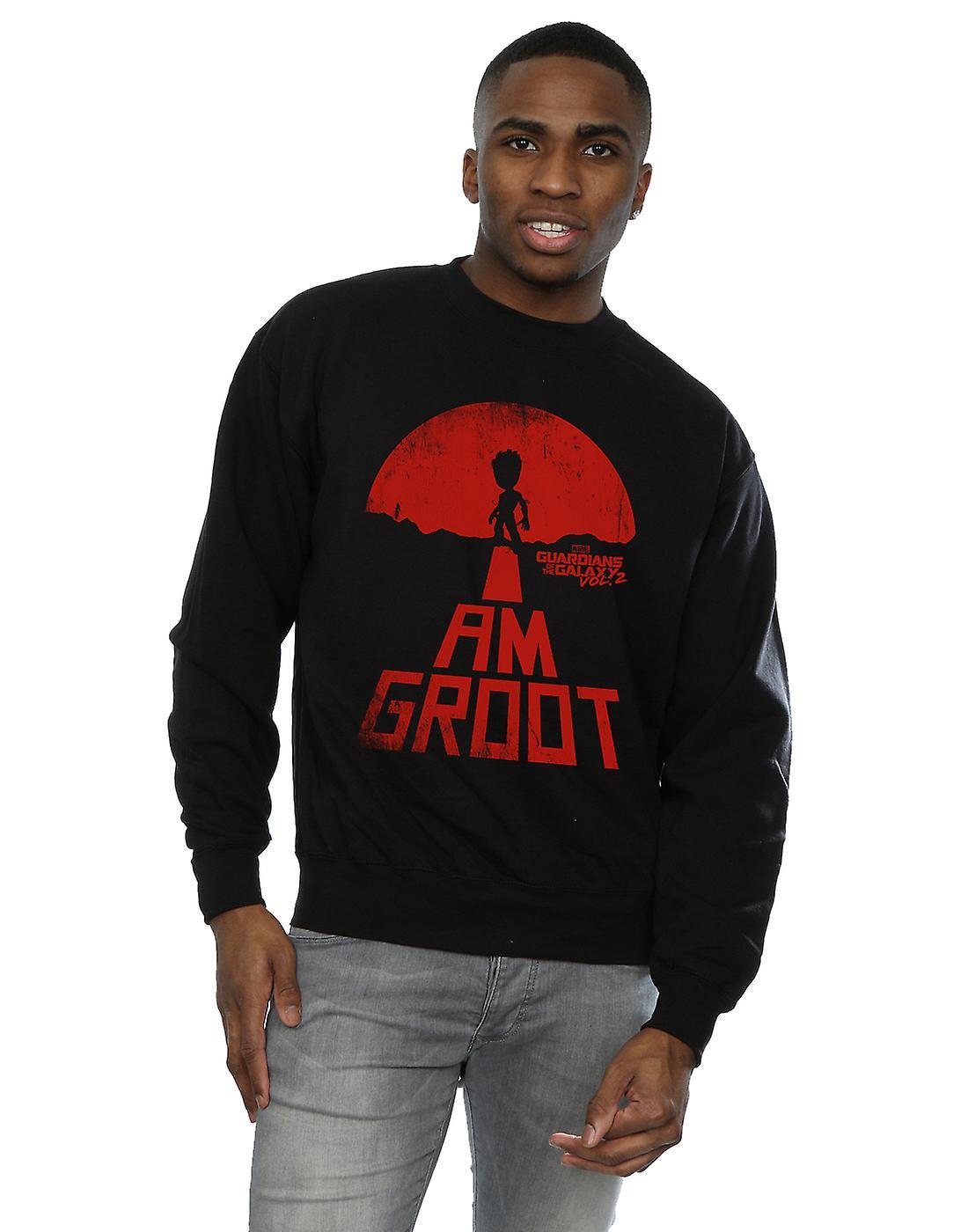 Herren Wächter zu bestaunen der Galaxie bin ich Groot rotes Sweatshirt 44cfc079cf