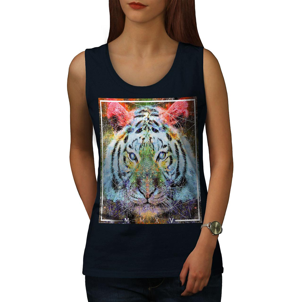 eb27c865 Tiger Urban Calm Animal Women NavyTank Top | Wellcoda | Fruugo