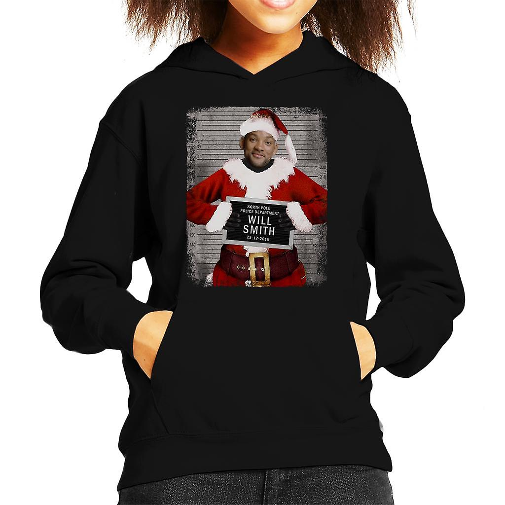 Will Smith Christmas Sweater.Christmas Mugshot Will Smith Kid S Hooded Sweatshirt