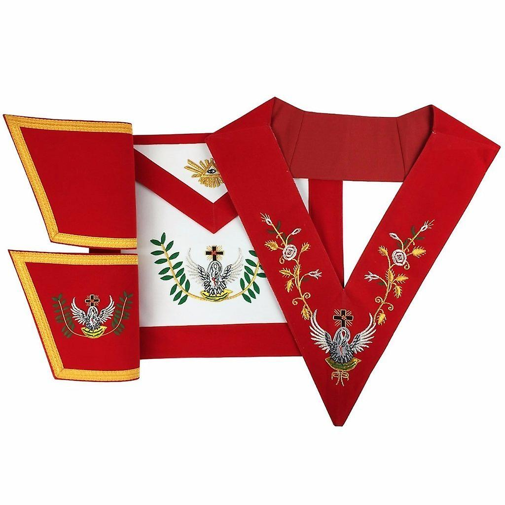 Masonic Rose Croix 18th Degree Handmade embroidery Apron, Gauntlets and  Collar Set
