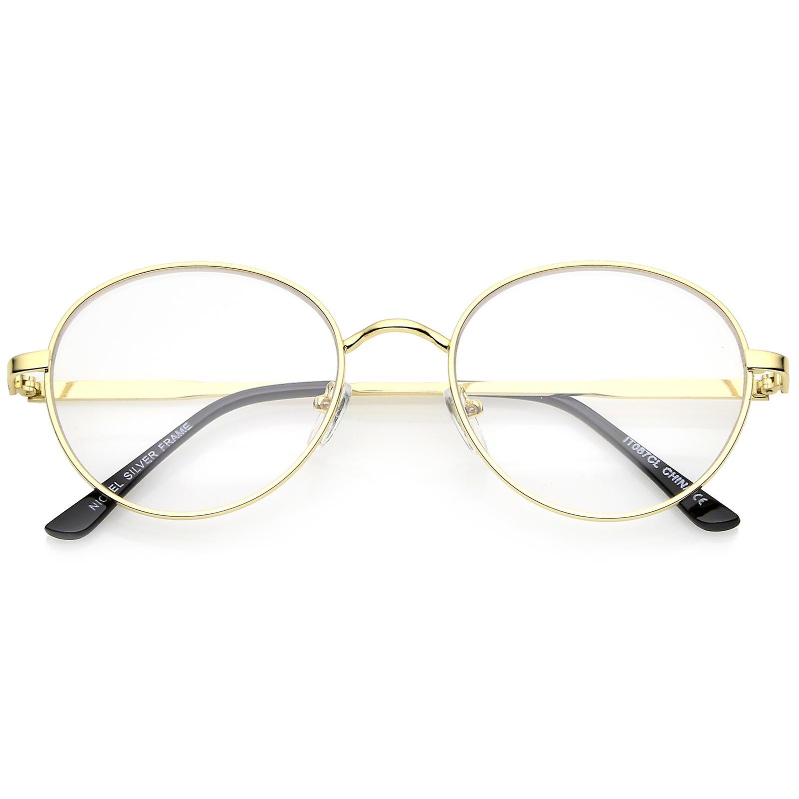 Klassiska metallram Slim templet klar lins runda glasögon 53mm  b87abf22c19d7