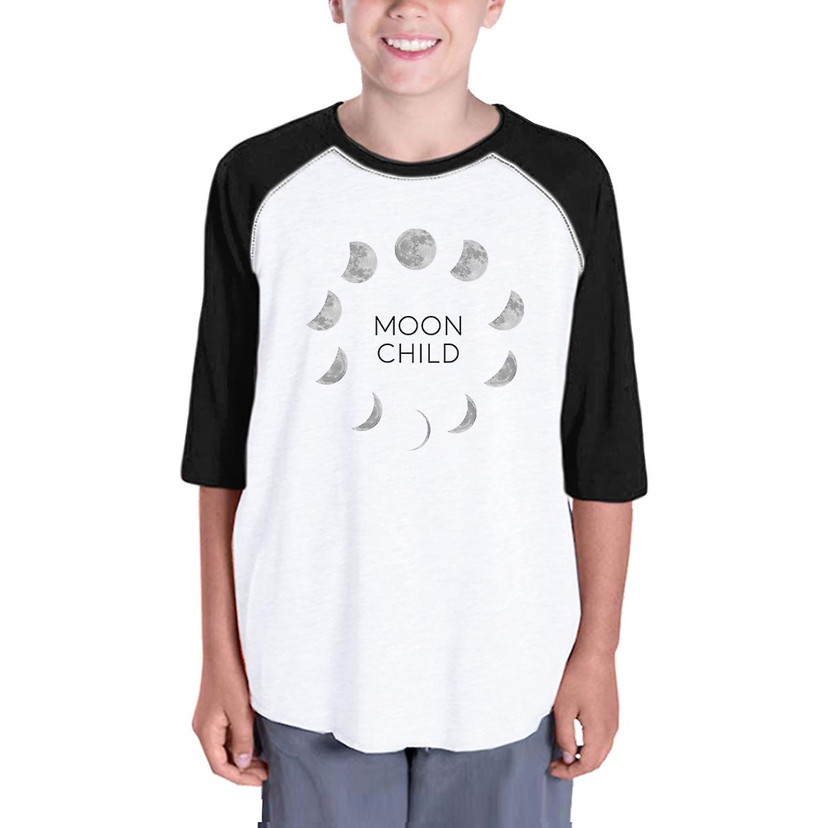 2605f95a8e74 Moon Child Tee Youth Graphic Raglan Shirt Horror Night Black Sleeve ...