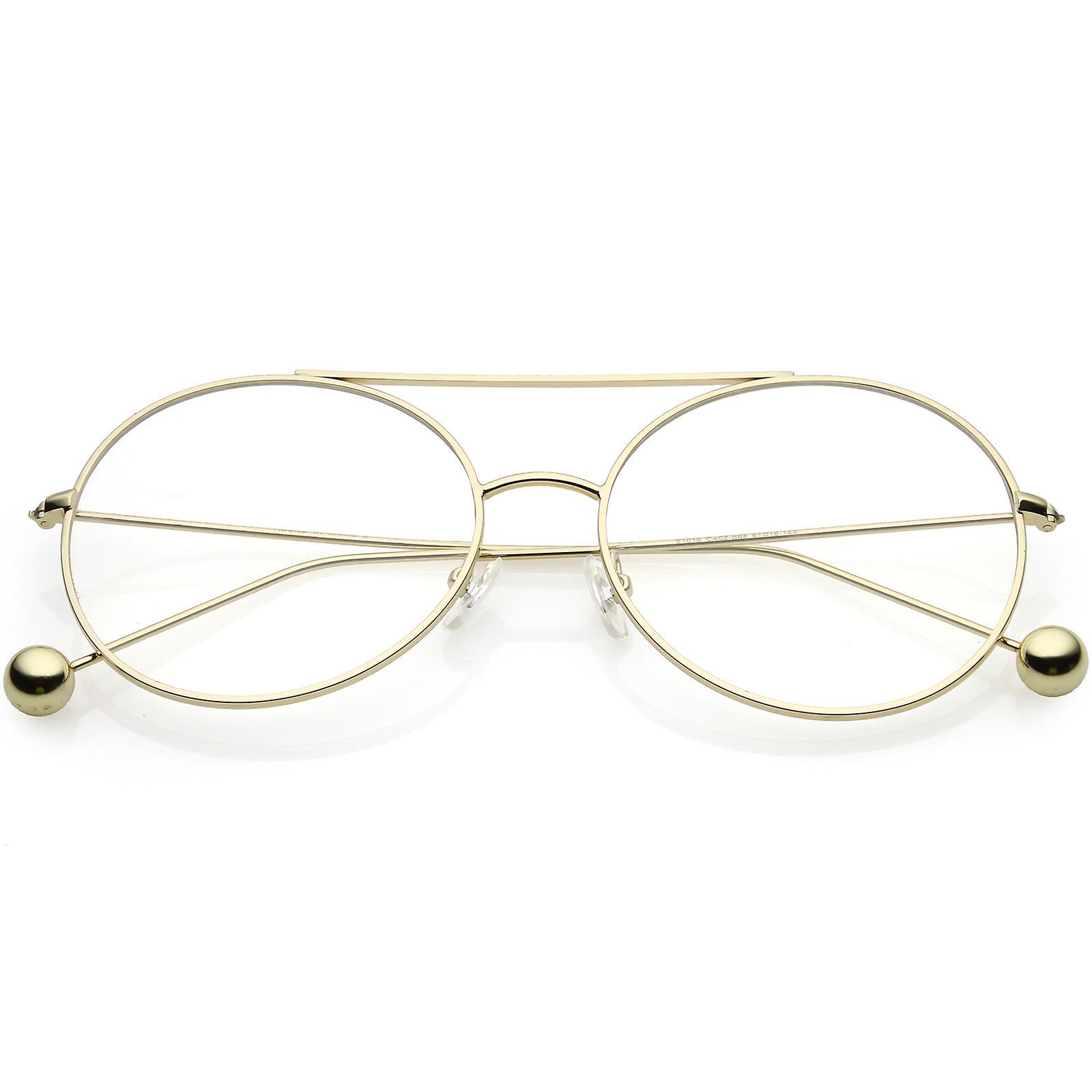 0ab4f6930eb Premium Oversize Round Eyeglasses Metal Double Nose Bridge Clear Flat Lens  59mm