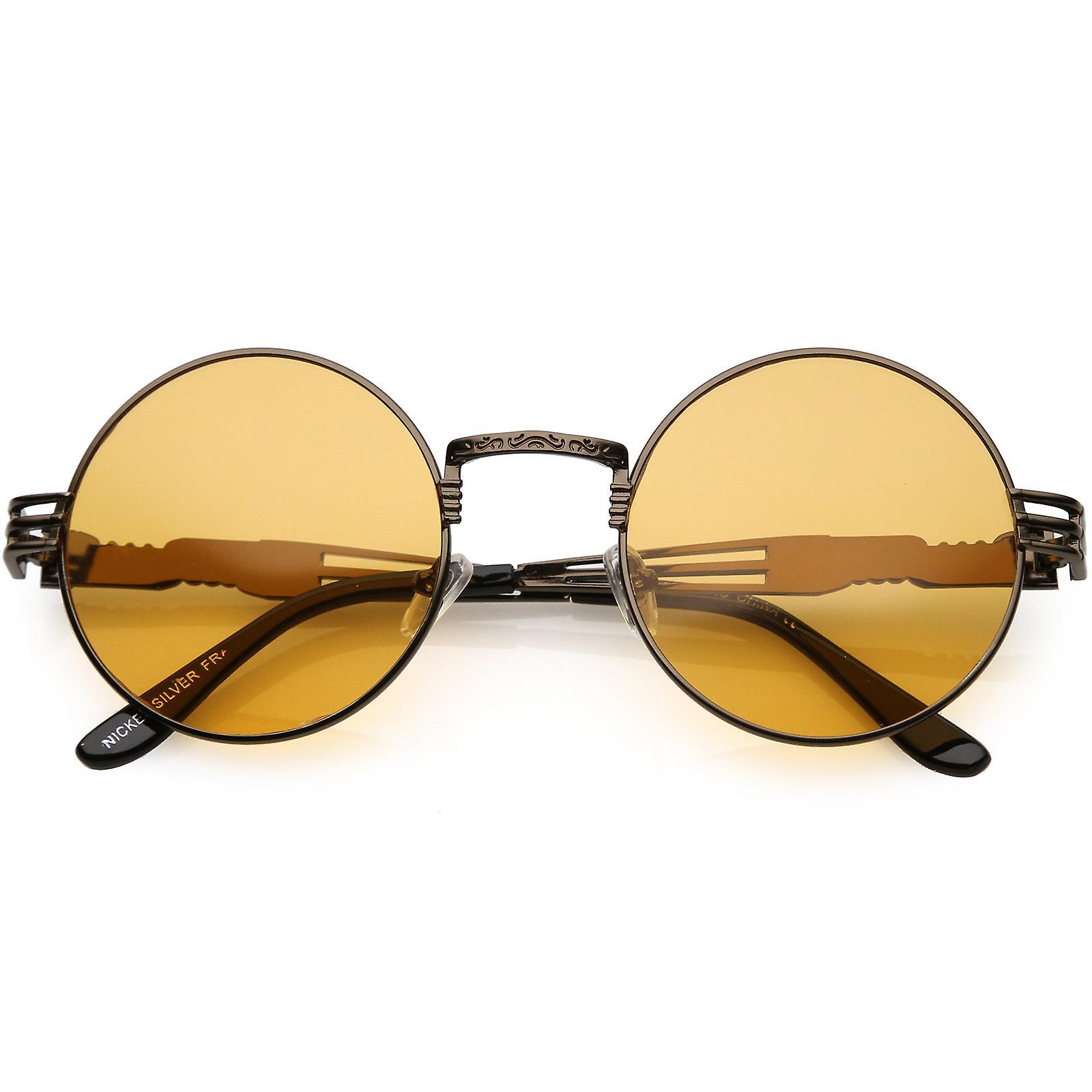 d77619676 نظارات جولة كبيرة الحجم محفورة ذراع معدنية انقطاع لون ملون عدسة 53 ملم