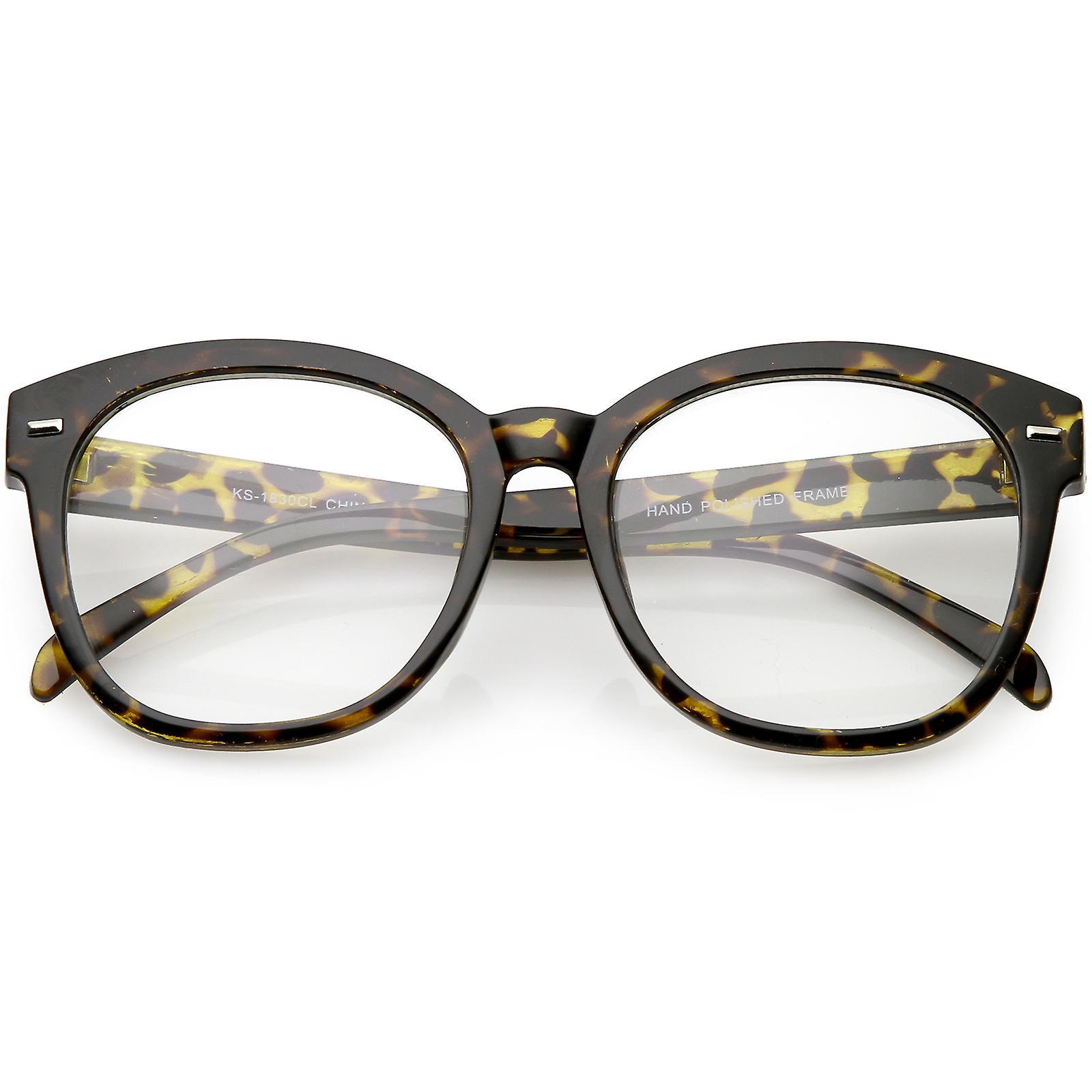 Oversize Horn kantad runda glasögon metall nitar klar lins 55mm  4b165ce2f4382